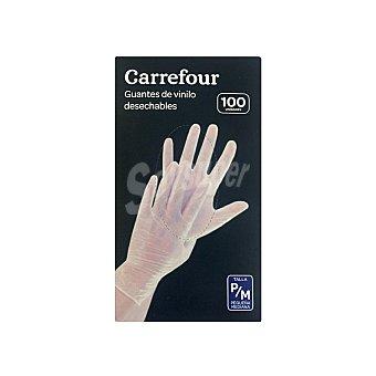 Carrefour 100 Guantes desechables de Vinilo P/M - Translúcido 100 ud