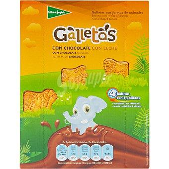 El Corte Inglés Galletas con formas de animales y chocolate con leche Estuche 225 g