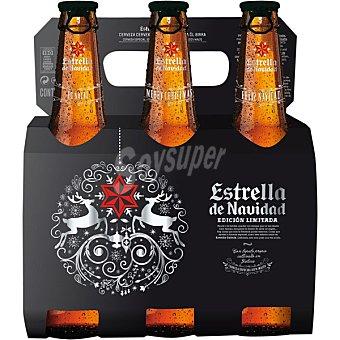 ESTRELLA GALICIA Estrella de Navidad Cerveza rubia nacional Pack 6 botellas 33 cl