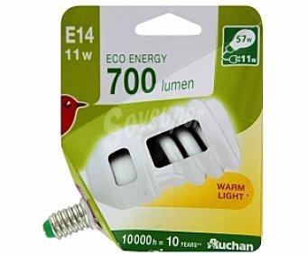 Auchan Bombilla bajo consumo espiral 11 Watios, casquillo E14 (fino), luz cálida 1 unidad