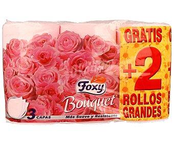 Foxy Papel higiénico de doble capa con aroma a rosa supersoft 4 + 2 uds