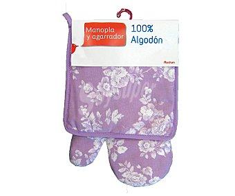 Auchan Conjunto de algodón, manopla y agarrador de cocina estampado floral color violeta 1 Unidad