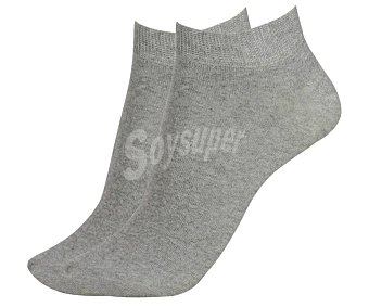 In Extenso Pack de 2 pares de calcetines deportivos tobilleros invisibles color gris, talla 39/42