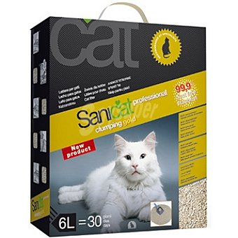 SANICAT PROFFESIONAL CLUMPLING GOLD Arena para gato con control de olor y libre de polvo Caja 6 l