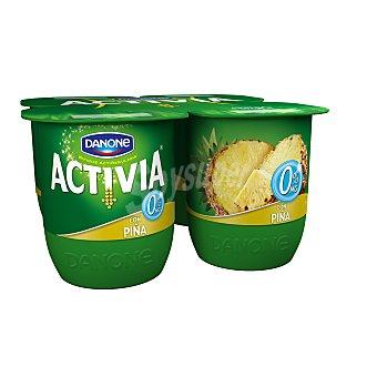Activia Danone Yogur desnatado con piña 0% materia grasa pack 4 unidades 125 g