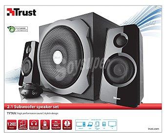 TRUST TYTAN Altavoz 2.1, potencia 60w (rms), mando con control del volumen, conexión para auriculares y conectores para iPod/mp3, botones para controlar el volumen y los sonidos graves en el lateral 2.1