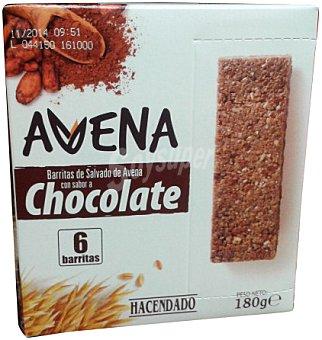 HACENDADO Barrita cereales con salvado de avena sabor chocolate CAJA 6 u