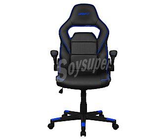 DRIFT DR75 Silla gaming brazos abatibles, asiento basculante y respaldo reclinable, base con 5 ruedas, color negro y azul.