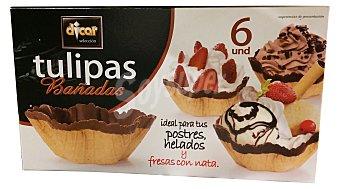Dicar Barquillo tulipa chocolate para helado y postre *verano* Caja 6 unidades