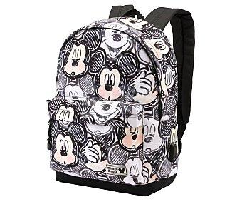 Mickey Disney Mochila de uso escolar de color negro y blanco de gran capacidad, mickey.