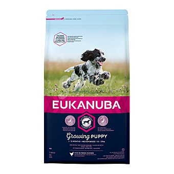 Eukanuba Pienso para perros medianos cachorros pollo Saco 3 kg