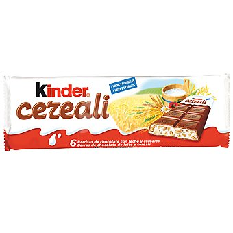 KINDER barritas de chocolate con leche y cereales tableta 141 g