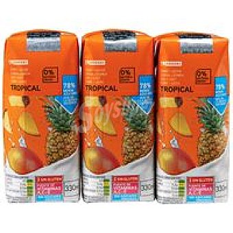 Eroski Zumo con leche tropical Pack 3x330 ml