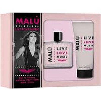 Malu Lote mujer love love music eau toilette vaporizador 100 ml + body locion 75 ml u