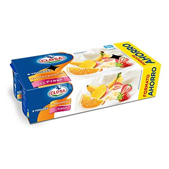 Clesa Yogur de macedonia y fresa Clesa sin gluten Pack de 8 unidades de 125 g