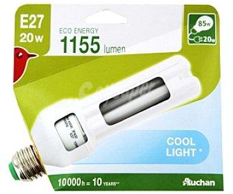 Auchan Bombilla bajo consumo tubo 20 Watios, casquillo E27 (grueso), luz blanca 1 unidad