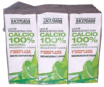 Hacendado Leche semidesnatada calcio Pack 6 x 200 ml - 1200 ml