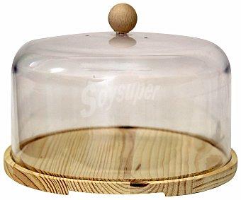 INALSA Quesera de madera con tapa de plástico, 22 centímetros de diámetro 1 Unidad