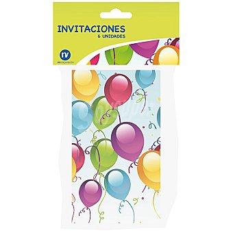 NV CORPORACION Invitaciones de fiesta decoradas con globos envase 6 unidades Envase 6 unidades