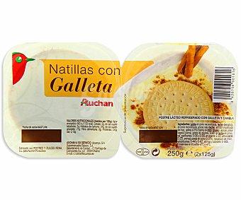 Auchan Natillas con galleta Pack 2 unidades de 125 gramos