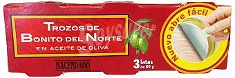 Hacendado Bonito norte trozos aceite oliva Pack de 3x156