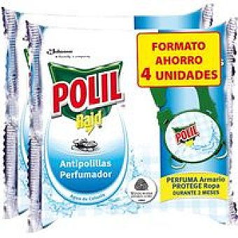 Polil Raid Antipolillas Perfumador Agua Colonia 4 Unidades