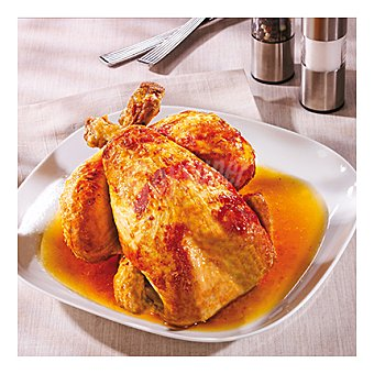 PATATAS Pollo asado sazonado + guarnición fritas Pollo asado sazonado + guarnición patatas fritas