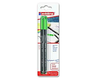 EDDING Marcadores permanentes verdes, para escritura en papeles claros, con punta de fibra de trazo de 1 milímetro 2 unidades