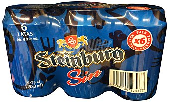 Steinburg Cerveza rubia sin alcohol Lata pack 6 x 330 cc - 1980 cc