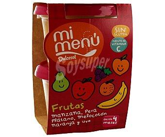 Dulcesol Tarrina 6 frutas manzana pera plátano melocotón naranja y uva 2 unidades 200 gramos