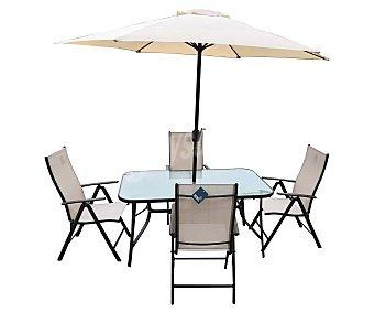 KACTUS REPUBLIC Mojácar Completo conjunto de jardín formado de mesa con sombrilla y 4 sillas plegables republic