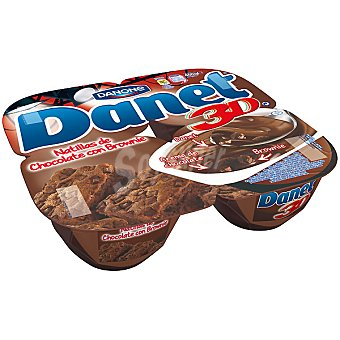 Danet Danone Natillas de chocolate con Brownie 3D Pack 4 unidades 115 g