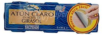 Hacendado Atun claro aceite girasol omega 3 ( abre fácil solapin) 3 latas (555 g - 429 g escurrido)