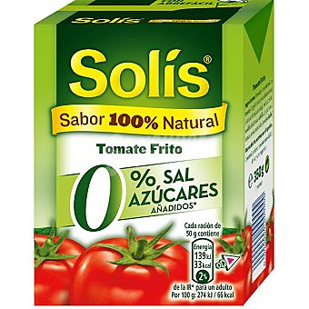 SOLIS tomate frito 0% sal, azúcares añadidos  envase 350 g neto escurrido