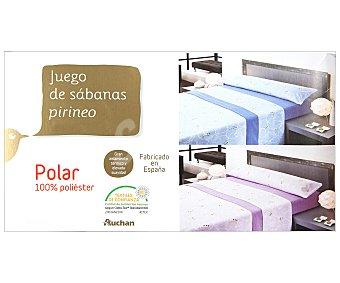 Auchan Juego de sábanas pirineo, 100% poliéster color malva con estampado ondas, 150cm 1 unidad