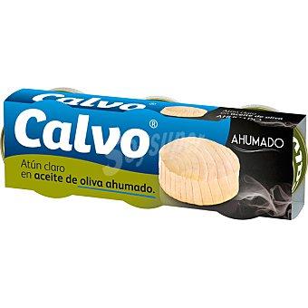 Calvo Atún claro en aceite de oliva ahumado pack 3 lata 52 g neto escurrido pack 3 lata 52 g