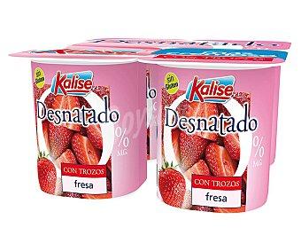 Kalise Yogur desnatado 0% materia grasa, sin gluten y con trozos de fresa 4 x 125 g