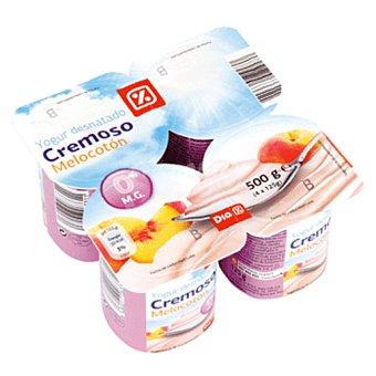 DIA Yogur cremoso 0% melocoton pack 4 unidades 125 gr