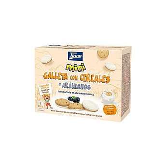 Tirma Mini galletas con cereales y arándanos semibañadas en chocolate blanco 4 packs individuales Estuche 160 g
