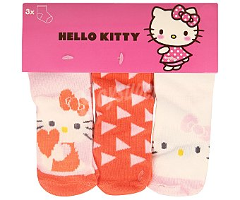 Hello Kitty Lote de 3 pares de calcetines de bebé color rosa, talla 18/20