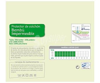 AUCHAN Protege colchón rizo de bambú y pulioretano, 135 centímetros 1 Unidad