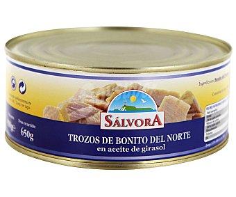 SALVORA Trozos de bonito en aceite de girasol sin gluten 650 gramos peso escurrido