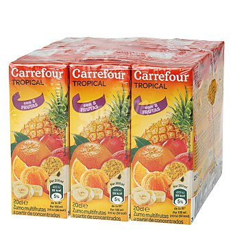 Carrefour Zumo tropical multifrutas concentrado 6 bricks de 20 cl