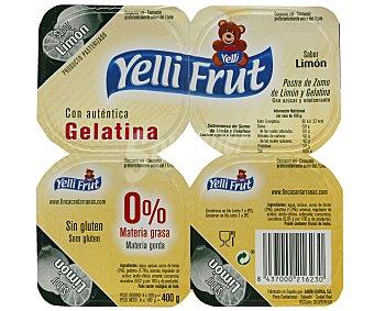 Yelli Frut Postre de zumo e limón y gelatina, con azucar y edulcorante 4 x 115 g
