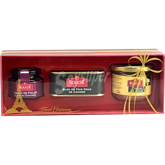 ROUGIE bloc de foie gras pato +Confitura de higos tarro 100g+Confit... lata 200g