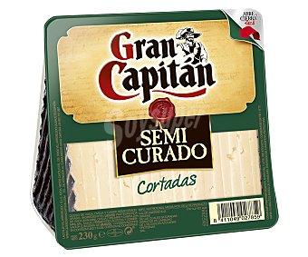 Gran Capitán Queso cortado semicurado de vaca, oveja y cabra Envase 230 g