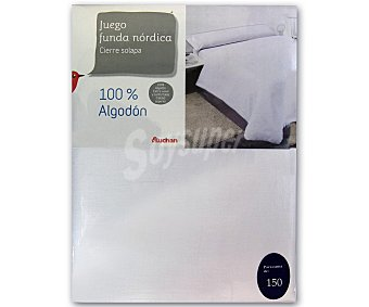 AUCHAN Funda para relleno nórdico de 150 centímetros, color blanco, 100% algodón 1 Unidad