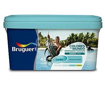 Bruguer Pintura Plástica de Interior, Color Azul Turquesa Caribe, Colores del Mundo 4 Litros