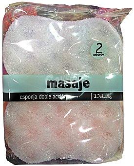 Deliplus Esponja baño masaje doble cara (1 cara esponja y la otra exfoliante ) Pack 2 u