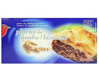 Auchan Lasaña, pasta de sémola de trigo duro de calidad superior en placas precocidas 250 gramos